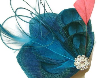 Peacock Hair Fascinator MALIBU Blue and CORAL Perfect for a Summer Bride or Bridesmaids with Rhinestone