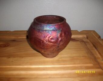Raku Vase with Red and Blue Hews