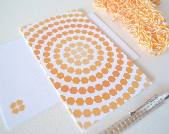 Tangerine Orange Ombre Card with Hexagon Circles - Geometric Card
