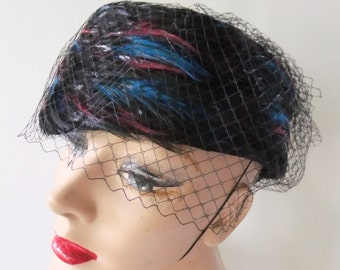 Vintage Hat Betmar Pillbox Black Wool with Feathers and Netting Blue and Fuschia Retro Ladies Formal Accessories