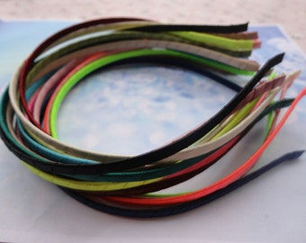 17pcs Metal Headbands 5mm assorted color(17 colors) covered by stain bent end