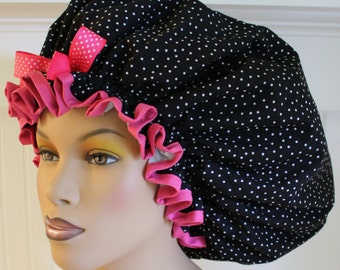 XL Waterproof Washable Shower Cap or Sleep Bonnet for Big Dread Locs with Adjustable Toggle