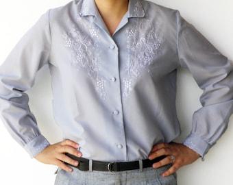 Vintage Embroidered Blouse / Powder Blue Shirt / Size L