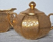 Gold Porcelain Cream and Sugar Bavaria Antique