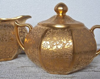 Gold Porcelain Cream and Sugar Bavaria Antique