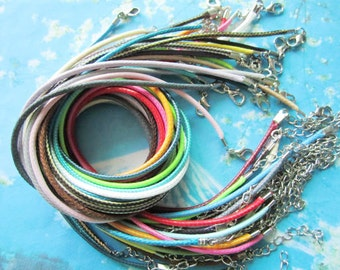 Promotion sale --25pcs assorted (25 different colors)16-18 inch 2mm korea wax cotton SNAKE BONE necklace cords with small finish