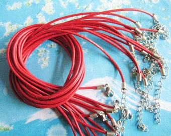 15pcs 16-18 inch adjustable 2mm red genuine leather necklace cords