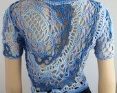 Reserved  Size L Cotton  Freeform Crochet Blue Cardigan - Shrug - Jacket - Summer  - OOAK- Ready to ship
