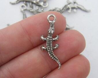 10 Crocodile charms  antique silver tone A16