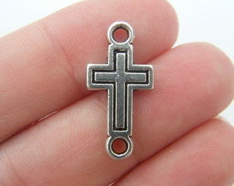 8 Cross connector charms antique silver tone C23