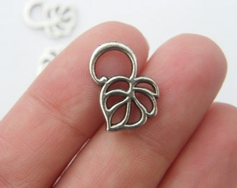 12 Vine leaf charms antique silver tone L2