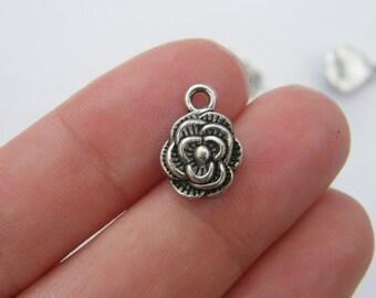 12 Rose charms tibetan silver F29