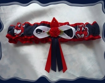 Red Satin Wedding Garter Toss Made with Cleveland Indians Fabric