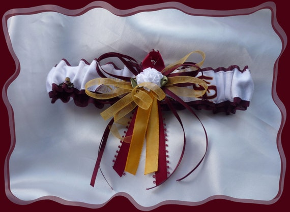 Garnet and Ribbons Wedding Garter Toss Made with Florida State Fabric ((SALE))