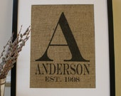 Free US Shipping...Personalized Wedding Monogram Burlap Print...Great for engagement, wedding or anniversary!