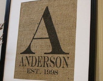 Free US Shipping...Burlap Wedding or Anniversary Personalized Print...Great for wedding, engagement gift