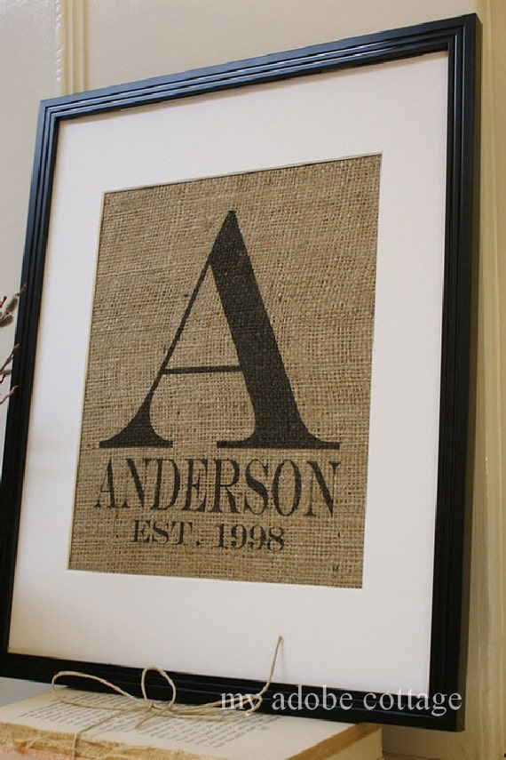 Burlap Wedding or Anniversary Personalized Print...Great for wedding, engagement gift