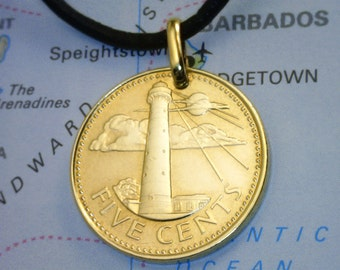 Barbados - 5 Cents  ( LIGHTHOUSE COIN PENDANT ) - Genuine Coin - Real Leather Necklace w/Clasp - ( Choose Length ) - Unique Gift - (2-c3)
