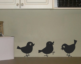 Cutie Birds Wall Decals - Set of THREE - Bird Stickers - Laundry Room Decal