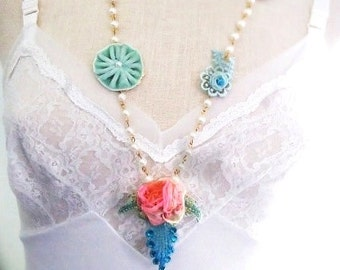 vintage pink ribbon rose pearl necklace