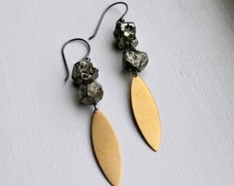 Pyrite Earrings, Brass Dangle Earrings, Geometric Jewelry, Long Earrings, Modern Industrial Fashion