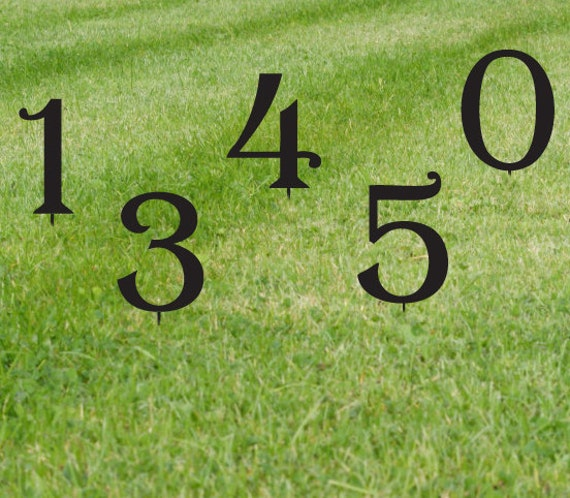 Set of 3 lawn numbers house numbers giant numbers - House number signs for yard ...