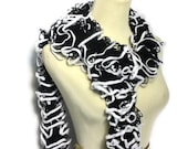 Valentine's Day, Sale Black And White Hand Knit Ruffle Scarf, Knit Scarf, Hand Knit Scarf, Women Scarf, Spring Scarf