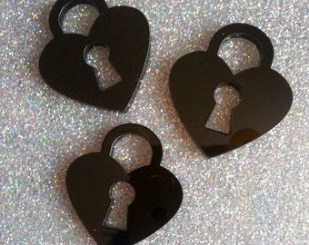 3 x Laser cut acrylic Padlock pendants