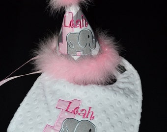 Chevron Baby Elephant Birthday Hat and Bib Set