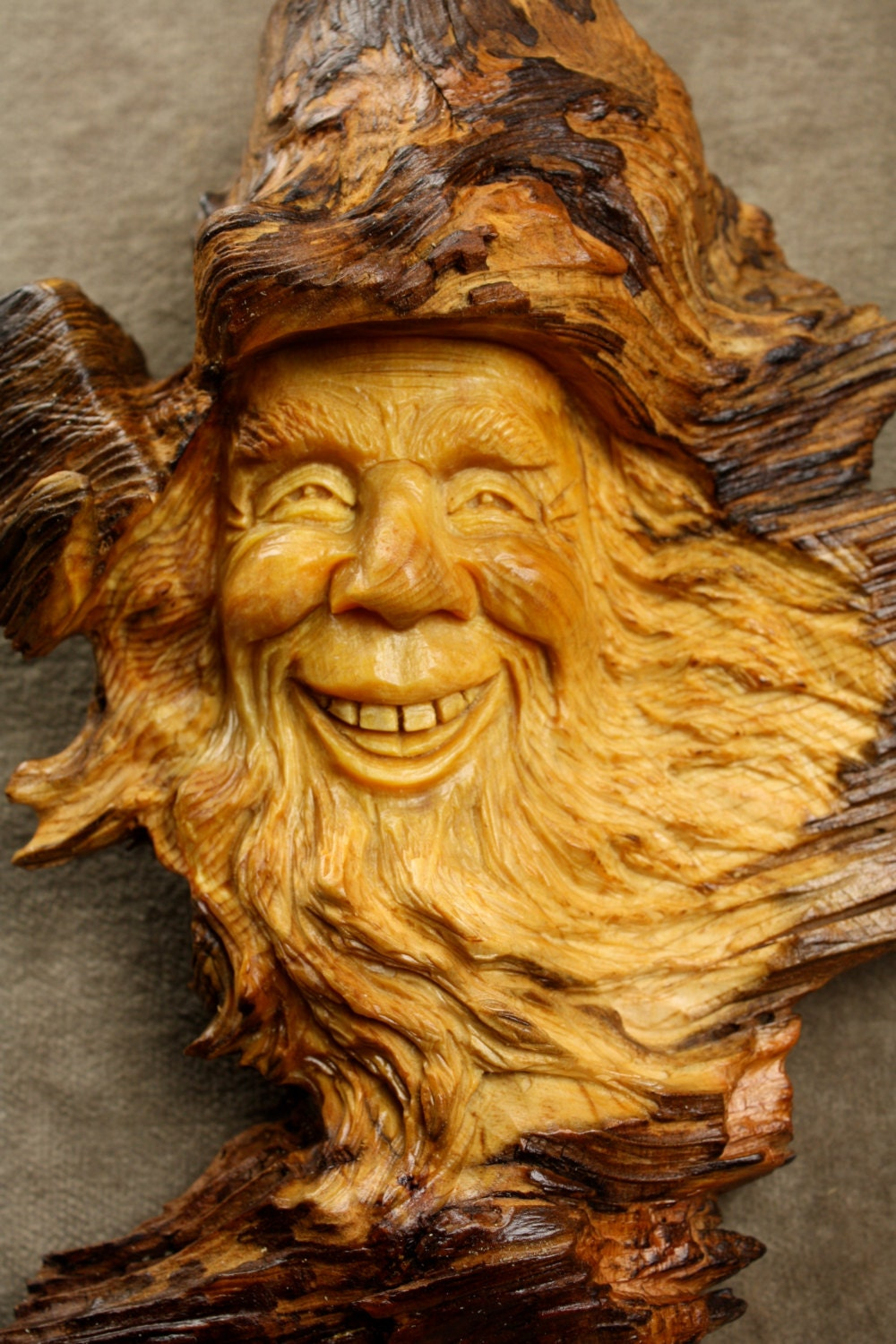 Wood spirit carving art ooak wooden christmas gift birthday