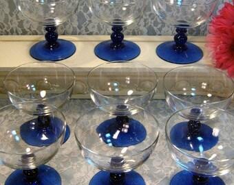 Vintage Cobalt Blue Crystal Footed Sherbet Glass Set of Nine, 1980s Mid Century Elegant Glass, Depression Glass, Vintage Kitchen Glass
