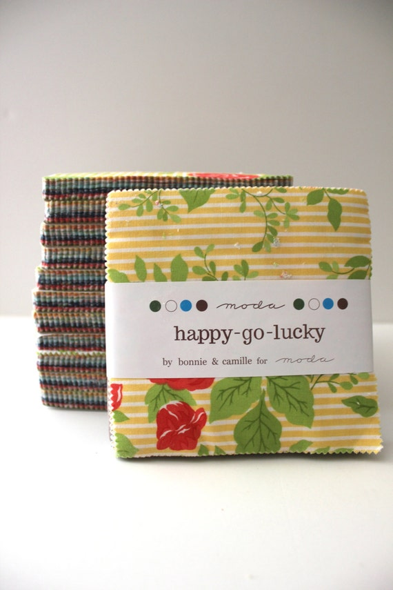 Sale... Happy Go Lucky Charm Pack - Bonnie & Camille for Moda Fabrics - 5 inch  42 prints total
