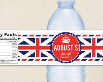 Union Jack Party - 100% waterproof personalized water bottle labels