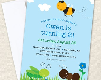 Insect Party Invitations - Professionally printed *or* DIY printable