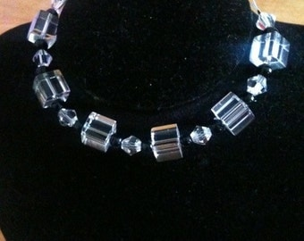 Square cubes with swarovski crystal beads