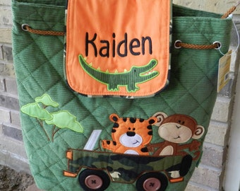 Stephen Joseph quilted backpack, safari animals,personalized,diaper bag,baby shower gift