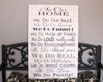 We Do Sign, 2 ft. X 3 ft. In Our Home, In this Home we do, House Rules, Typography Word Art, Family Rules, Subway Roll.