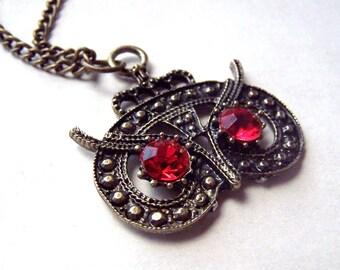 Brass Owl Necklace Bronze Owl Jewelry