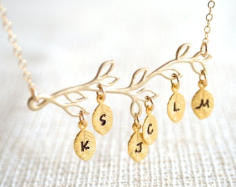 Family Tree Necklace - Gold Branch with up to 9 Hand Stamped Leaves - Personalized - Mom, Mum, Mother's Day, Grandmother, Grandma
