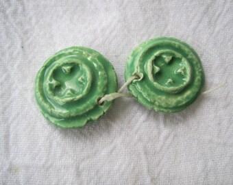 Ceramic charm pair eucalyptus pod green
