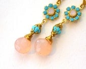 PInk and turquoise earrings Chalcedony Turquoise Swarovski crystal flower wire wrapped dangle earrings
