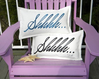"""Outdoor pillow SHHHH... blue, black, or grey ships tomorrow handpainted 12""""x20"""" sleep slumber hush sleep zzzzzzzzzzzz quiet please"""