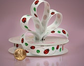 "5/8"" LadyBug Grosgrain Ribbon Spring Summer Leaves"