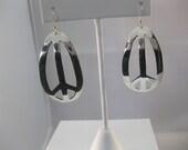 Artisan Sterling Silver Peace Sign Earrings Handformed