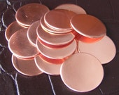 Copper DISCS -1 1/4 x 22 gauge blank metal discs, metal stamping blanks, 32mm Qty 10