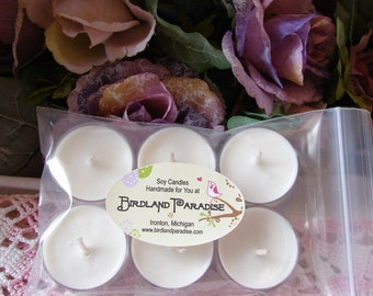 6 Soy Wax Unscented Tea Lights