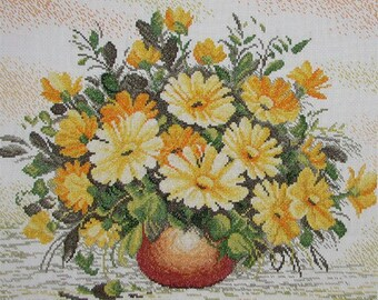New Finished Completed Cross Stitch - Chrysanthemums - 9115