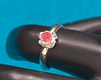 Ruby Rose Flower Design Unique Engagement Ring & July Birthstone, Ruby Ring, Rose Ring
