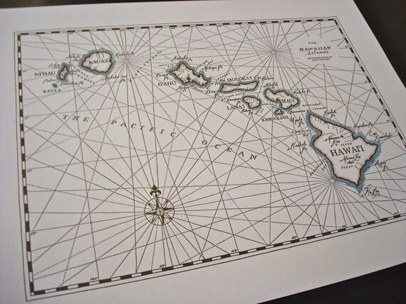 Hawaiian Islands, Letterpress printed Map
