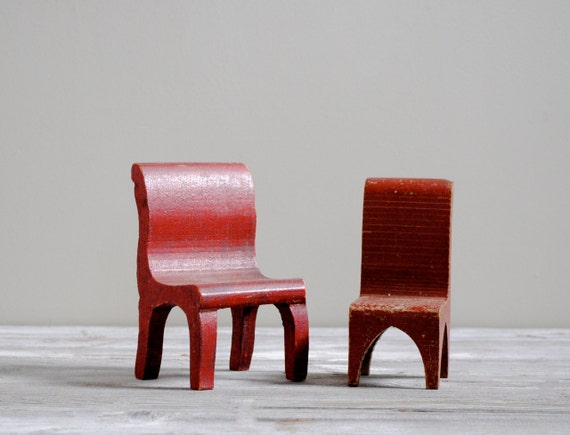Vintage Miniature Wooden Doll Chair Set